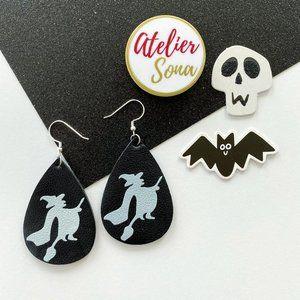Flying Witch Teardrop Earrings